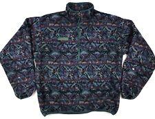 Vintage Columbia Aztec Fleece Half Zip Pullover - Sz M - Painted USA Made