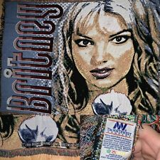 Early 00s The Northwest Company Acrylic Knitted Britney Spears 2000 Blanket A14