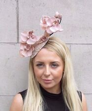 Silver Nude Beige Orchid Flower Fascinator Hat Wedding Hair Races Headband 3135