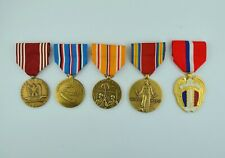 5 Full Size WWII Army Medals for Service in the Pacific - Philippines WW2