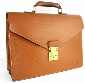 Auth Louis Vuitton Orange Epi Leather Briefcase Business Hand Bag Ambassador Bag