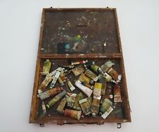 vintage artists wooden paint storage box with old tubes Winsor & newton paint  .