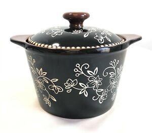 TEMPTATIONS Floral Lace Glazed Ceramic Butter Dish Crock NEW H311619 Black