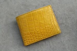 Real Alligator Crocodile Wallet SKIN Leather Bifold Men's Yellow Handmade #M39
