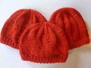 PREEMIE 5-7 lbs BABY HATS. Set of 3. Hand knitted . ALL RED