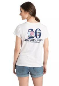 $29.50 Vineyard Vines Patchwork Whale Girl's Sz LARGE (14) Pocket S/S Shirt NWT
