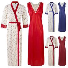 Mesdames satin dentelle longue chemise de nuit nuisette broderie détaillée nighty taille 8-18