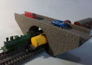 N GAUGE BRIDGE LEVEL OVERPASS STONE BRIDGE DOUBLE TRACK SCALE MODEL LASER CUT