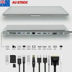 12 In1 Type-C Laptop Docking Station USB 3.0 HDMI 4K VGA PD USB Hub For MacBook~