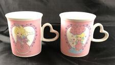 Vintage 1996 Precious Moments 10 Oz Coffee Mug Cup Heart Shaped Handle Lot Of 2