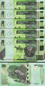 Congo 1000 Francs 2013, UNC, 5 Pcs LOT, Consecutive, P-101b