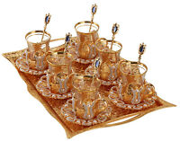 25 Pcs Turkish Tea Glass Glasses Saucers Spoons Tray Set w Crystals Pearls, GOLD