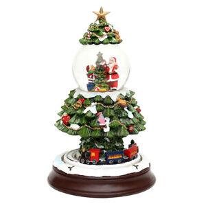 Sigro XXL Schneekugel Weihnachten elektr.  Schneewirbel Musik bewegter Zug 28cm