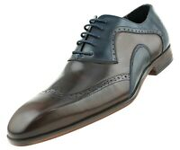 Men's Two Tone Dress Shoes, Genuine Leather Wingtip Oxford Shoes for Men