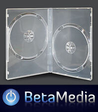 100 x Double Clear 7mm Slim Quality CD DVD Cover Cases - Slimline Spine DVD case