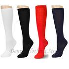 3, 6 ,12 Pairs Lot Women Girl  Knee High School Uniform Socks Plain Solid Colors