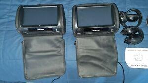 "2PCS 9"" Adjustable Touch Screen Rear Monitor Pillow Car Headrest DVD Player"