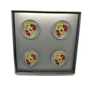 Set New Genuine Porsche 95B Macan Platinum Satin Wheel Centre Caps