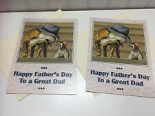 2 Vintage Happy Fathers Day Greeting Card by Bryan Moon Cards Dogs 22559
