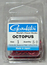 Gamakatsu Octopus Red Size 1 Chemically Sharpened Hooks - *Qty 50* Saltwater