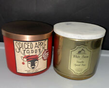 "New Bath&Body Works ""VANILLA SPICED PEAR""&""Spice Apple Toddy3 Wick 14.5oz Candle"