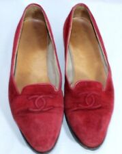 Red Vintage Chanel Suede Ballet Flats Loafer Slip On Shoes Size 38/38 1/2