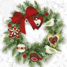 Christmas 20 Paper Lunch Napkins WREATH WITH BIRDS Christmas Tradition Winter