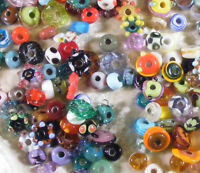 LNT- 100+ Medium Handmade Lampwork MIXED Orphan SPACER Beads- SRA- Loose Craft