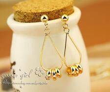 18K Gold Plated Polished Lucky Rings Drop Dangle Hoop Stud Earrings Free postage