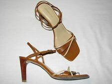 10 M Lucky Liz Claiborne Brown Tan Silettoes High Heels Ladies Sandals Leather B
