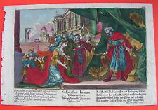 Bibel  DER GEHENCKTE HAMANN  Martin Engelbrecht .Kupferstich 1730 koloriert