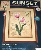 "1999 Dimensions / Amy Piccard ""Botanical Tulips"" Floral Crewel Kit NIP 12x16"""