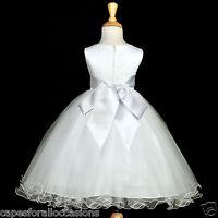WHITE COMMUNION EASTER BAPTISM WEDDING FLOWER GIRL DRESS 12-18M 2 3T 4 5T 6 8 10