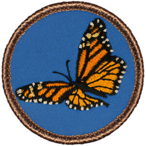"""Monarch Butterfly (Blue Background) Patrol Patch - 2"""" Round Embroidered Patch"""
