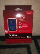 SanDisk Sansa Clip + Plus Blue 4GB MP3 Digital Media Music Player, NEW