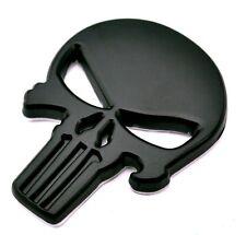"3D Black Metal PUNISHER SKULL Sticker 2-1/4"" x 1-3/4"" for your Car, Truck, Bike"