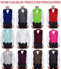 SET Vest BowTie Hanky Fashion Men's Formal Solid Dress Suit Tuxedo Waistcoat.