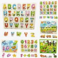Baby Kids Educational Wood Number Animal Puzzle Blocks Shape Early Learning Toys