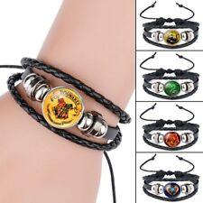 Hot Harry Potter Woven Bracelet Griffindor Slytherin Ravenclaw Hufflepuff Badge