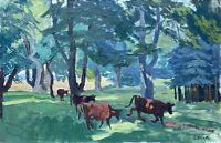 Karl Adser 1912-1995 Öl Kühe am Waldrand auf der Insel Romsø Dänemark