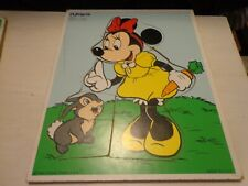 Vintage Playskool Walt Disney's Wooden Minnie Mouse & Thumper Tray Puzzle