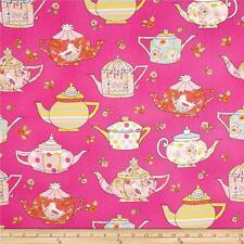 Free Spirit Tiddlywinks Teatime Pink  Teapots Cotton Quilt Fabric Dena Designs