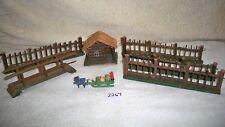 Antique Wood German Putz Christmas Village Hut Bridge Santa Sled 4pc Wood Fence
