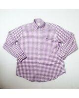 Brooks Brothers Mens Button Shirt  Plaid Purple  Long Sleeve  Medium/Large