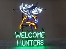 """Welcome Hunters Deer Buck Stag Neon Sign 24""""x20"""" Q177L"""