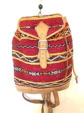 Tribal Vintage Leather Backpack Bag Kilim Carpet Tapestry Woven tan Boho Ethnic
