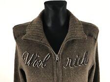 WOOLRICH Women's Brown Wool Blend Full Zip Jumper Size L