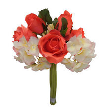 CORAL & CREAM  ~ Rose Hydrangea Bridal Bouquet Silk Wedding Flowers Centerpieces