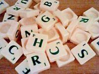 Scrabble Original Mattel Spare Tiles .. Round Back .. Green Letters - Choose