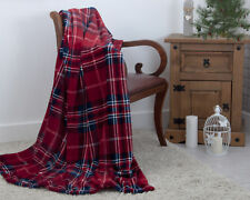 Red Tartan Check Christmas Festive Xmas Plush Fleece Blanket Throw 130 X 180cm